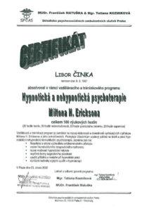 Certifikát Libor Činka - výcvik vhypnotické anehypnotické psychoterapii