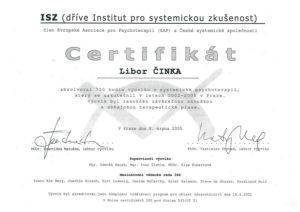 Certifikát Libor Činka - akreditovaný výcvik vsystemické psychoterapii